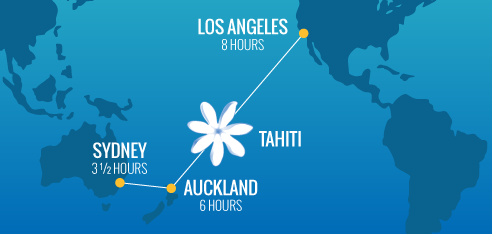 Air Tahiti Nui Route Map and Bora Bora Day Trip Map tahiti flight deals New Zealand and Tahiti Flight Deals AKL RouteMap  05172016a