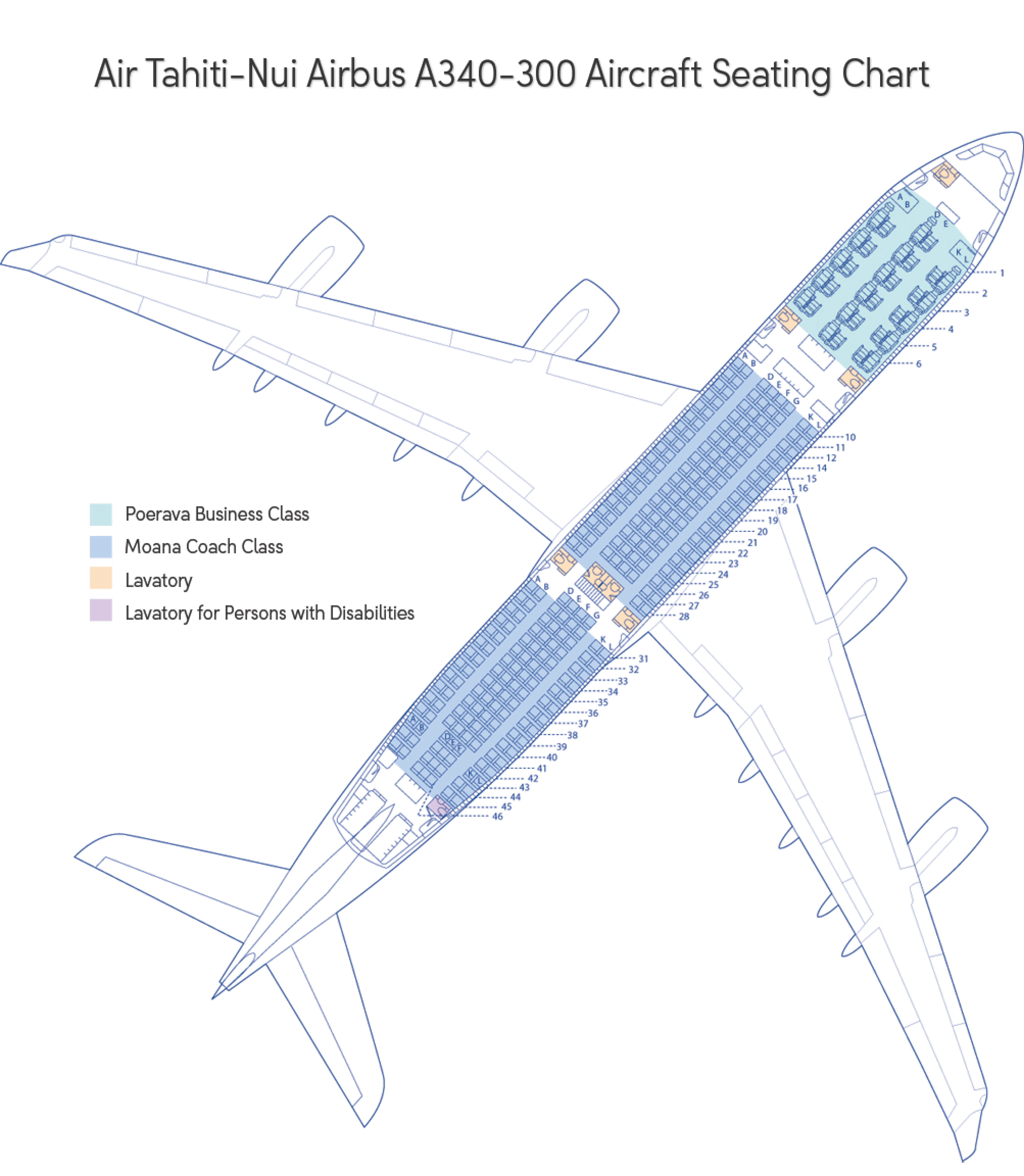 large picture of the air tahiti nui aircraft seating map