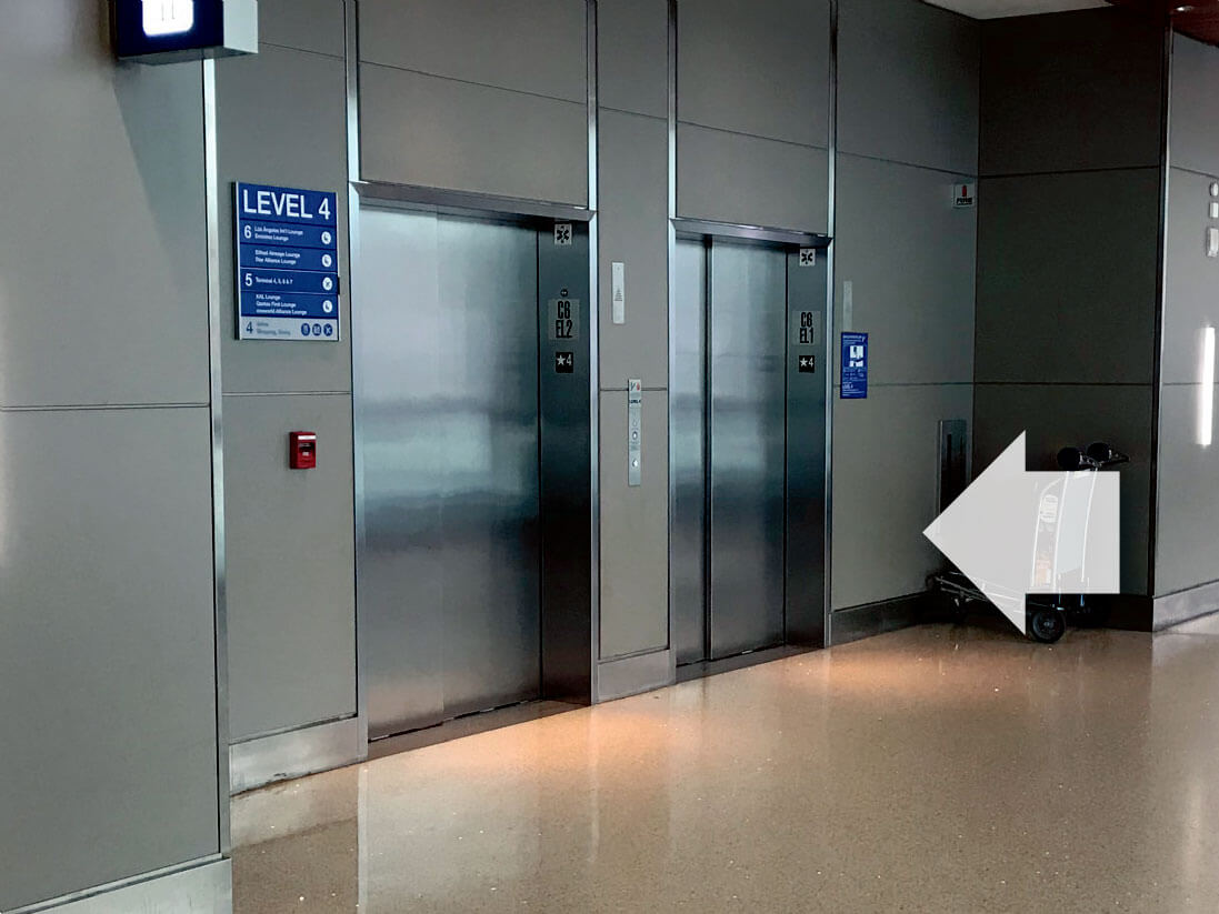 Elevators to ATN Lounge at LAX