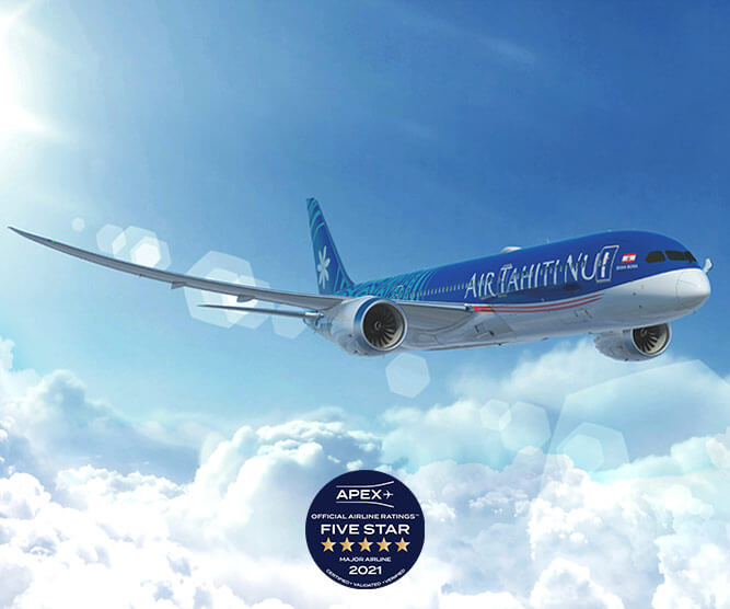 vue aérienne air tahiti nui boeing avec logo apex official airline ratings five star 2021