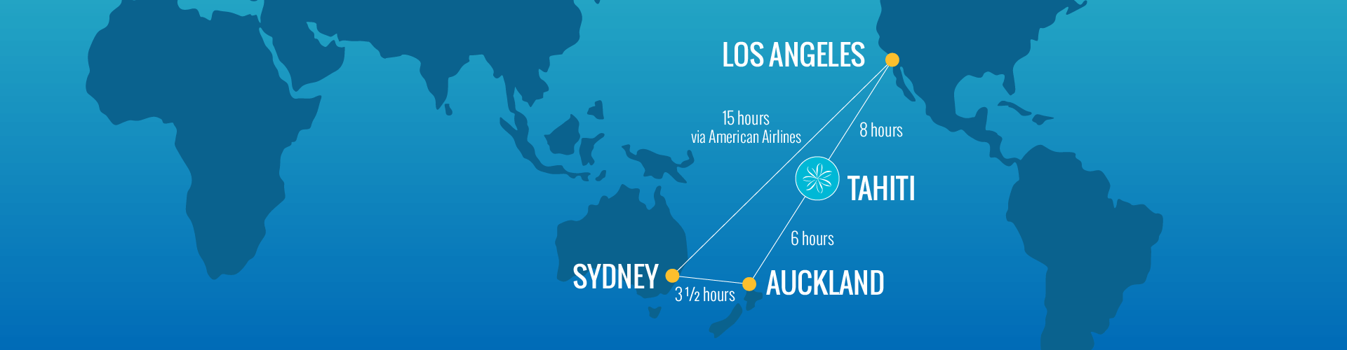 LAX to Tahiti to Auckland to Sydney Route Map
