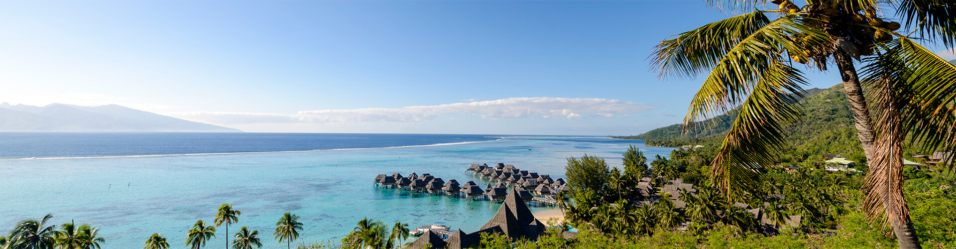 Scenic view of Tahiti with Overwater Bungalows