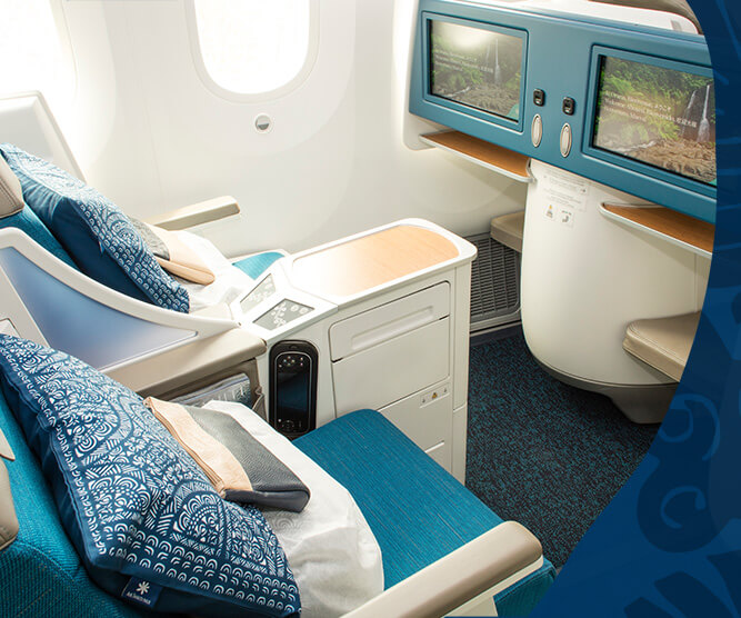 air tahiti nui business class seats and screens