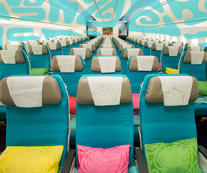 air tahiti nui economy seats with light blue colors