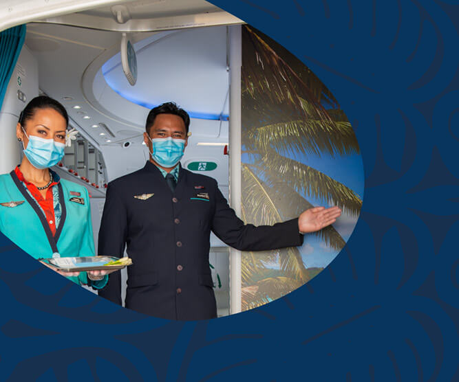 air tahiti nui crew with masks