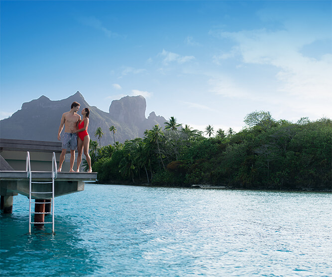 Couple in Bora Bora on an Overwater Bungalow