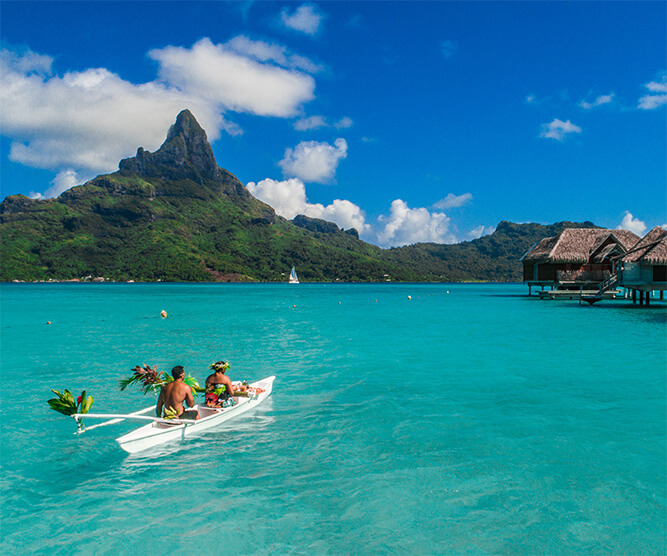 Tahiti with overwater bungalows