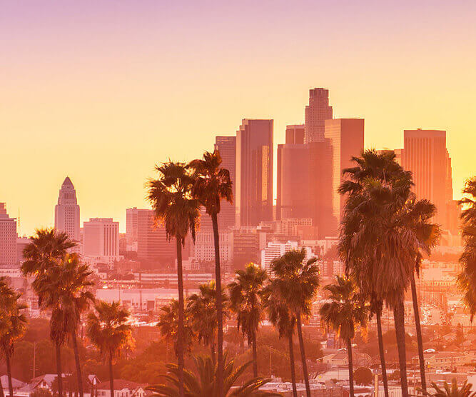 sunset photo of downtown Los Angeles