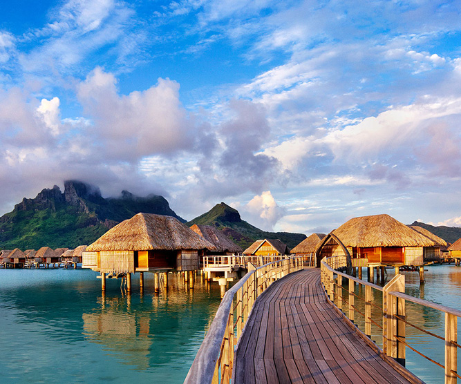 Photo of overwater bungallow in an hotel of bora bora
