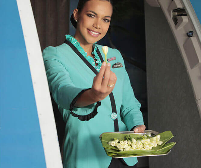 A flight attendant holding a Flower on Air Tahiti Nui's aircraft
