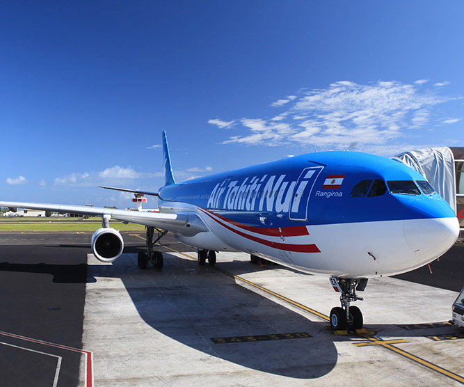 Air Tahiti Nui aircraft at Tahiti international airport