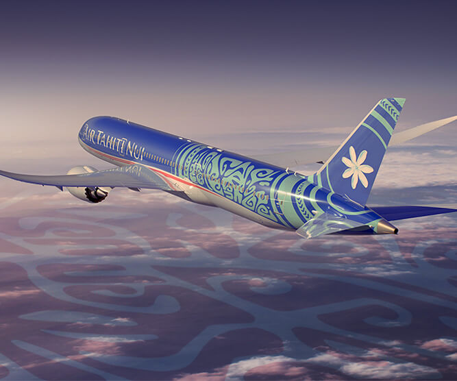 Air Tahiti Nui boeing 787 tahitian dreamliner flying over cloud