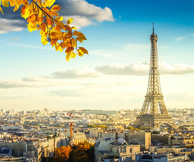 Autumn in Paris with the Eiffel Tower