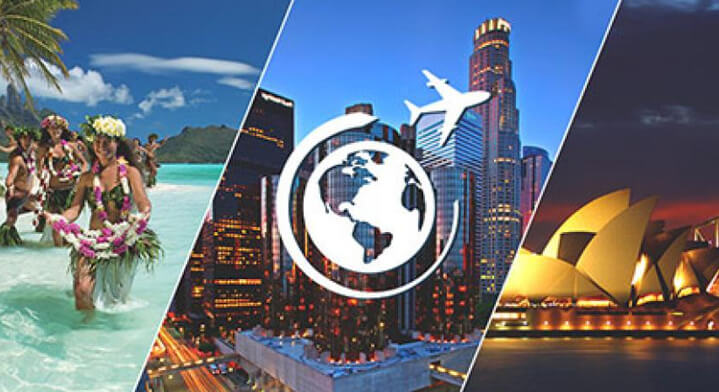 Montage photo de Tahiti, Los Angeles et Sydney