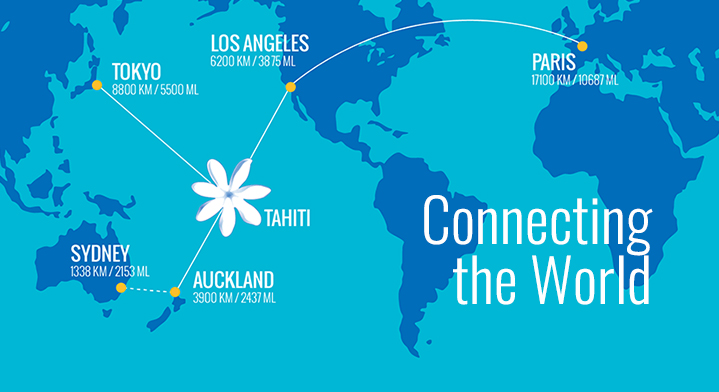 Air Tahiti Nui Route map - flying to paris, Los Angeles, Tahiti, Auckland and Tokyo
