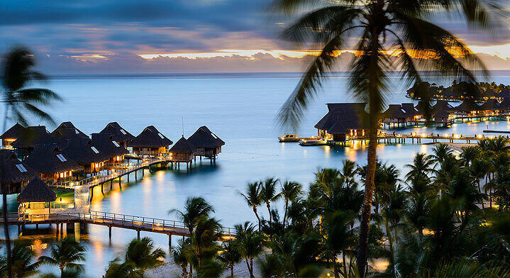aeral view of overwater bungallows in bora bora