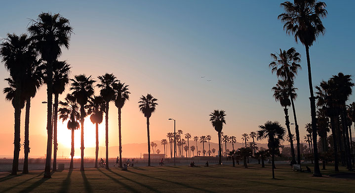 sunset at Los Angeles Beach