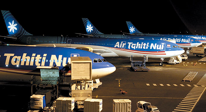 A view of the Air Tahiti Nui Fleet on Tahiti's international airport tarmac