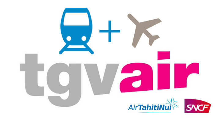 Air Tahiti Nui and SNCF logos with train and plan drawings