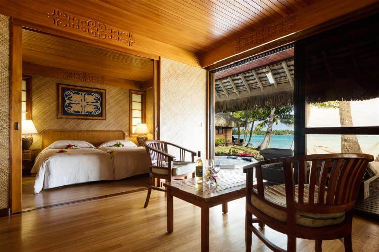 view inside a bungalow in french polynesia