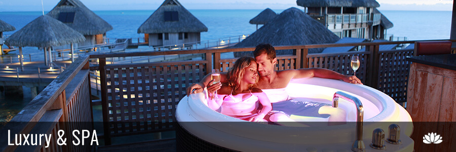 couple in a jaccusy in the island of bora bora