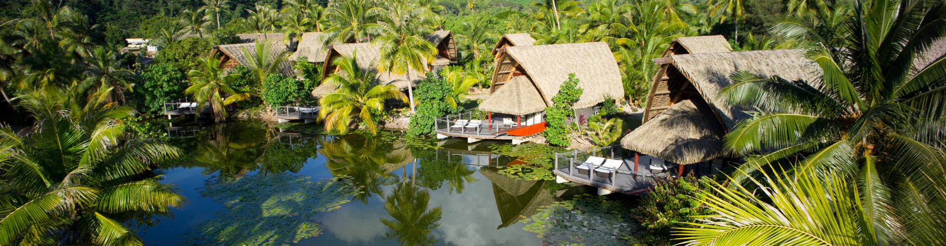 Aeral view of the hotel Maitai Lapita Village Huahine
