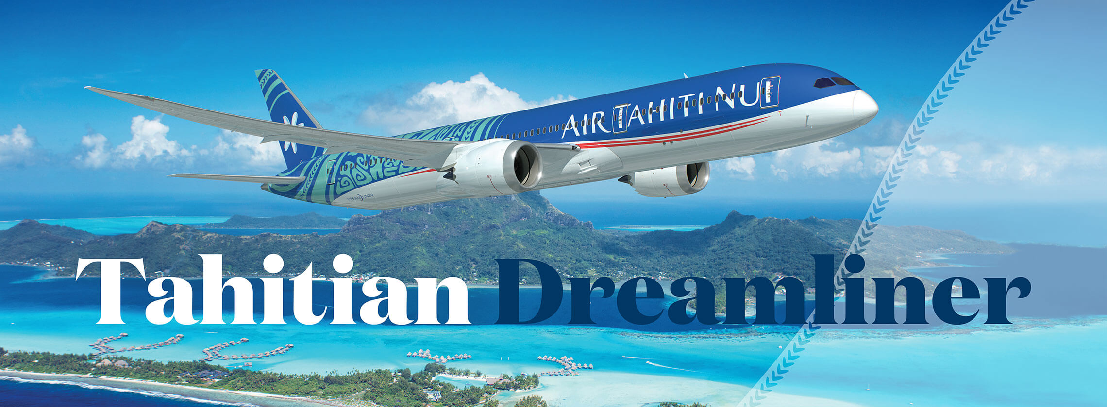 Air Tahiti Nui Tahitian Dreamliner in Flight over Tahiti