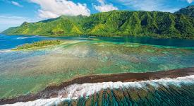 aerial view of the reef and mountain of Tahiti
