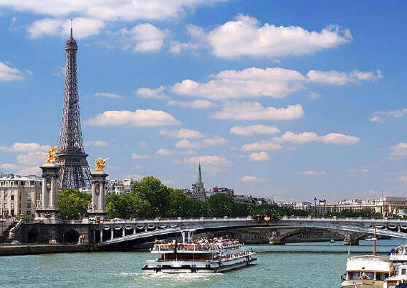 view of the Eiffel Tower and the Seine at Paris