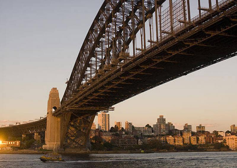 view of the sydney harbour bridge at sunset