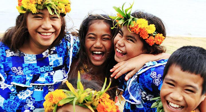 Tahitian children smilling