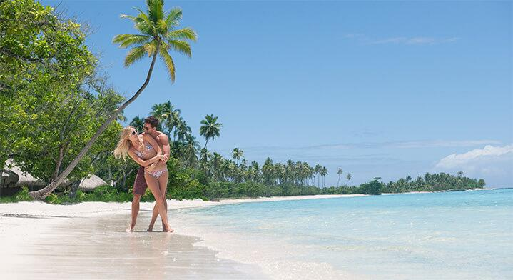 Couple on the beach in Tahiti