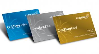Image of the three club tiare frequent flyer cards: tahia, silver and gold