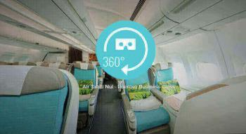Presentation of the launch screen to see the 360 degrees view of the air tahiti nui poerava business class cabin