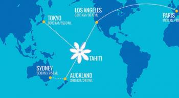 photo of the air tahiti nui route map