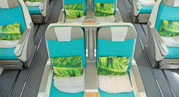 aeral photo of the cabin configuration and seats in air tahiti nui poerava business class
