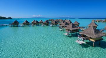 A view of overwater bungalows at Intercontinental Le Moana Bora Bora