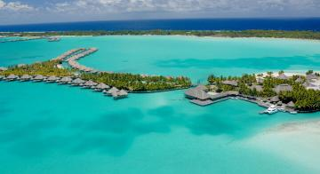 Aerial view of St Regis Bora Bora Resort
