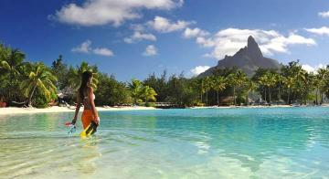 women standing in front of Bora Bora