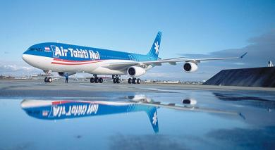 Photo d'un avion Air Tahiti Nui sur le tarmac de faa'a