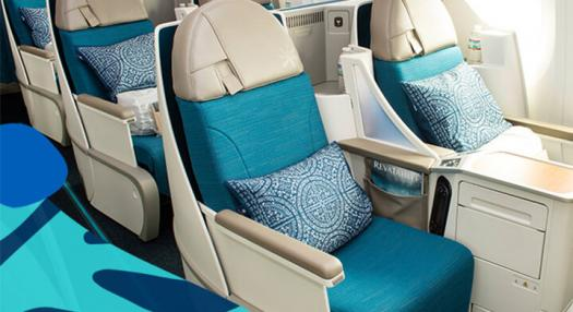 seat of the poerava business class of air tahiti nui