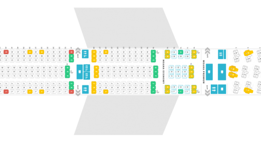 seat map of the new Air Tahiti Nui Boeing dreamliner