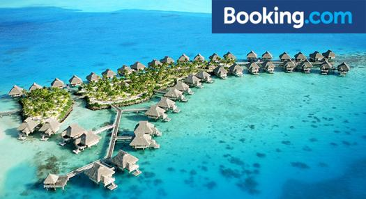 View of overwater bungalows in bora Bora