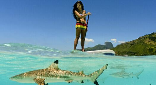Woman on a paddle board in the Tahiti lagoon