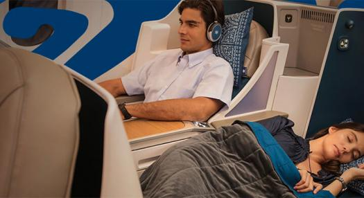 woman relaxing onboard air tahiti nui flight