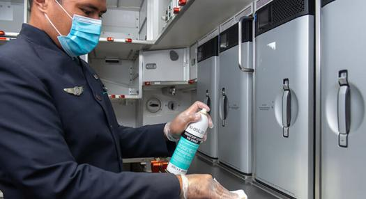 flight crew cleaning screen with new hygiene measures