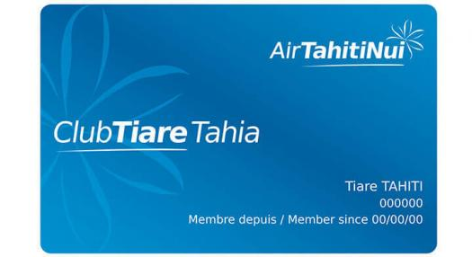 Tahia Club Tiare frequent Flyer Card