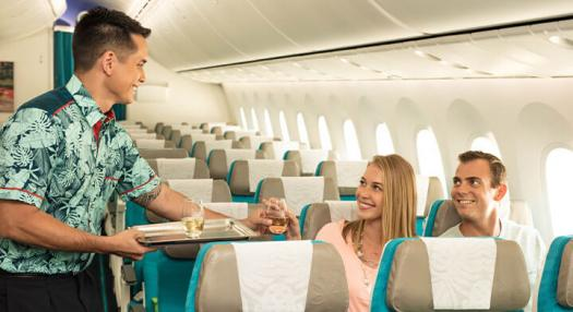 couple inflight with air tahiti nui