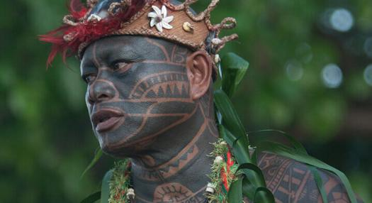 Photo of a tattooed Tahitian face
