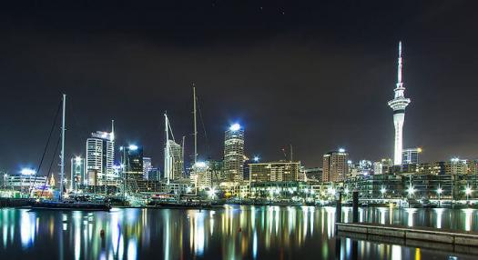 View of Auckland city and harbour by night